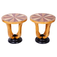 Pair of Art Deco Style Inlaid Stands or End Tables