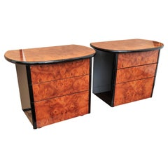 Pair of Art Deco Style Italian Walnut Burl and Lacquered Black Nightstands