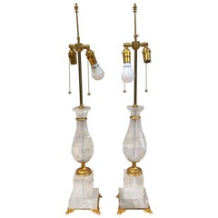 Pair of Art Deco Style Large Rock Crystal and Brass Urn on Base Form Table Lamps