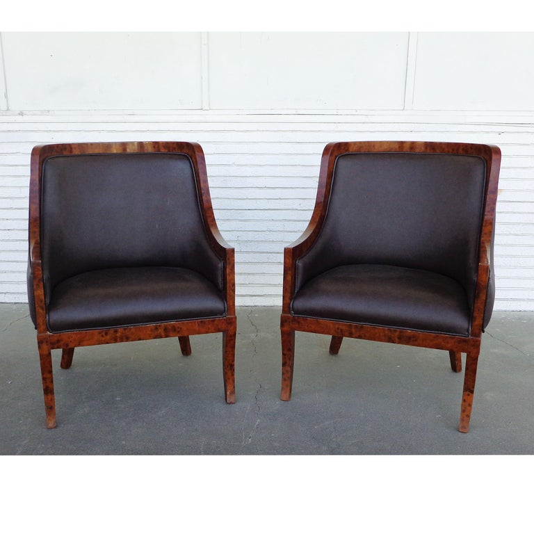 Pair of Art Deco Style Lounge Chairs In Fair Condition For Sale In Pasadena, TX
