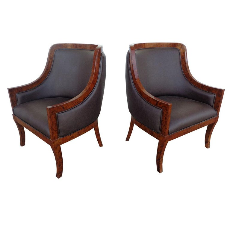 Pair of Art Deco Style Lounge Chairs For Sale