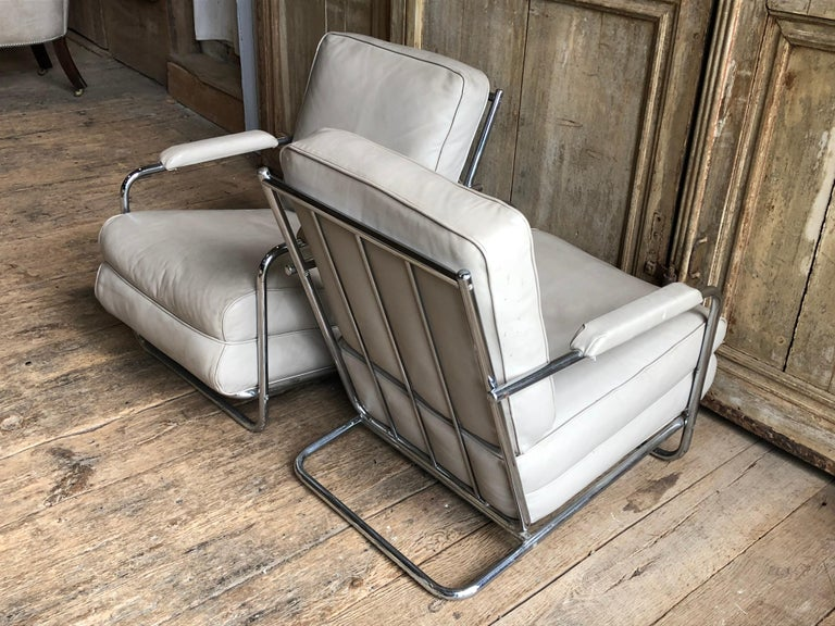 Pair of Gilbert Rohde Lounge Chairs In Chrome and Leather 6
