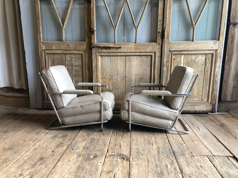 Art Deco Pair of Gilbert Rohde Lounge Chairs In Chrome and Leather
