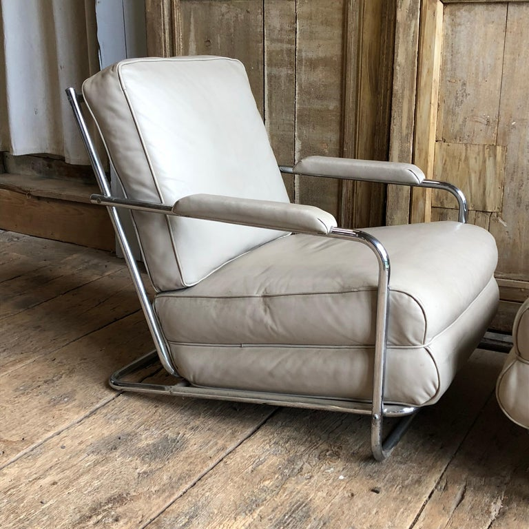 French Pair of Gilbert Rohde Lounge Chairs In Chrome and Leather
