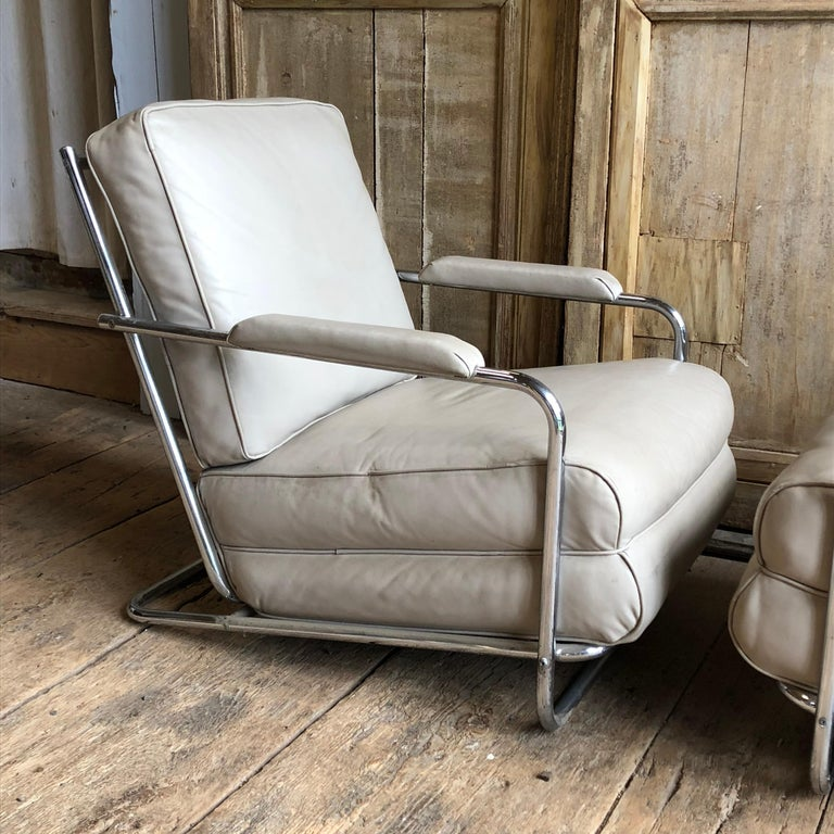Pair of Gilbert Rohde Lounge Chairs In Chrome and Leather In Good Condition In Doylestown, PA