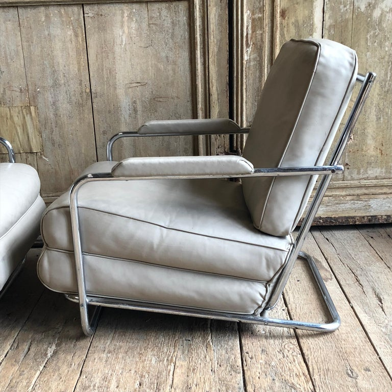 20th Century Pair of Gilbert Rohde Lounge Chairs In Chrome and Leather