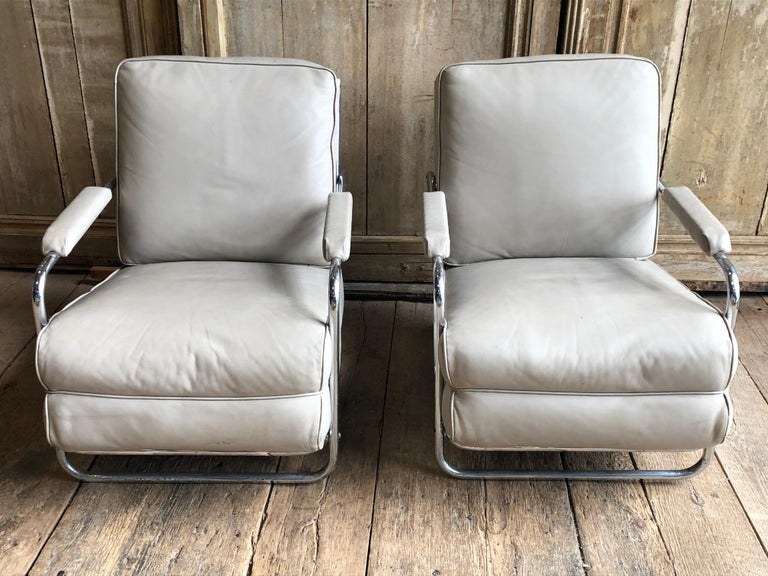 Pair of Gilbert Rohde Lounge Chairs In Chrome and Leather 1
