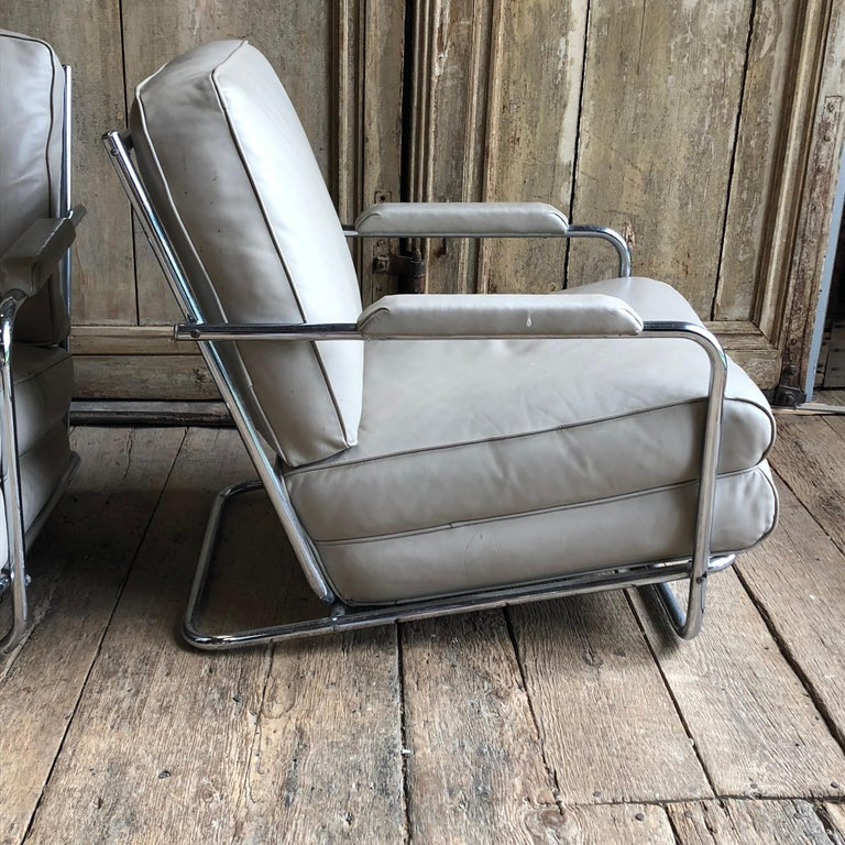 Pair of Gilbert Rohde Lounge Chairs In Chrome and Leather 2