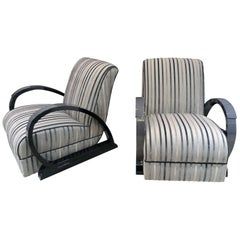 Pair of Art Deco Style Lounge Chairs in Grey Maple with Black Lacquer