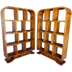 Pair of Art Deco Style Macassar Ebony Book Shelves