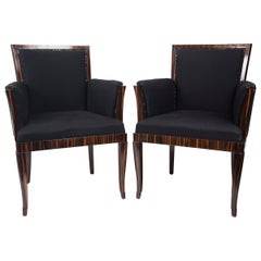 Pair of Art Deco Style Makassar Ebony Upholstered Armchairs
