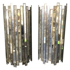 Pair of Art Deco Style Mirror and Brass Sconces from the 1970s