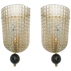 Pair of Art Deco Style Murano Glass Demilune Wall Sconces, in Stock