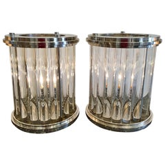 Pair of Art Deco Style Nickel-Plated Glass Rod Modernist Lamps by Randy Esada