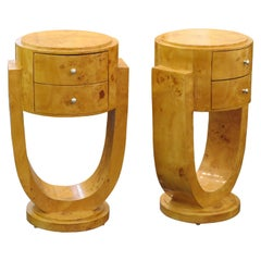 Pair of Art Deco Style Nightstands in Alder Burl, circa 1960s