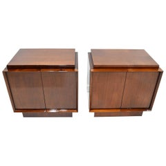Pair of Art Deco Style Nightstands in Mahogany