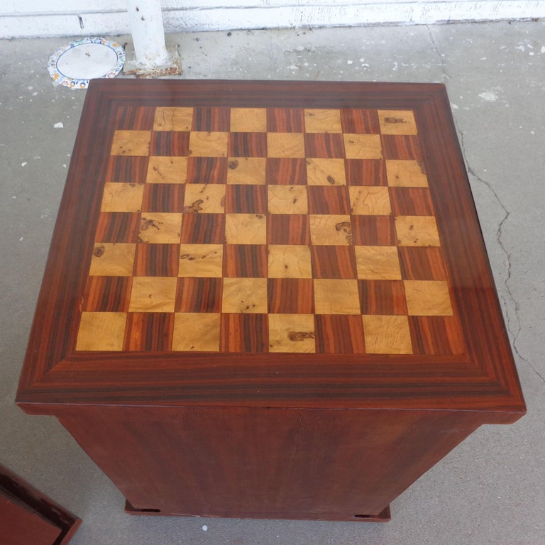 Rosewood Pair of Art Deco Style Nightstands or Side Tables For Sale