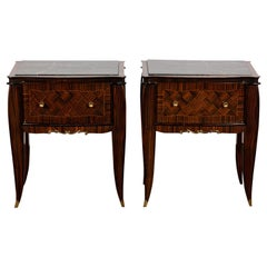 Pair of Art Deco Style Nightstands with Drawers