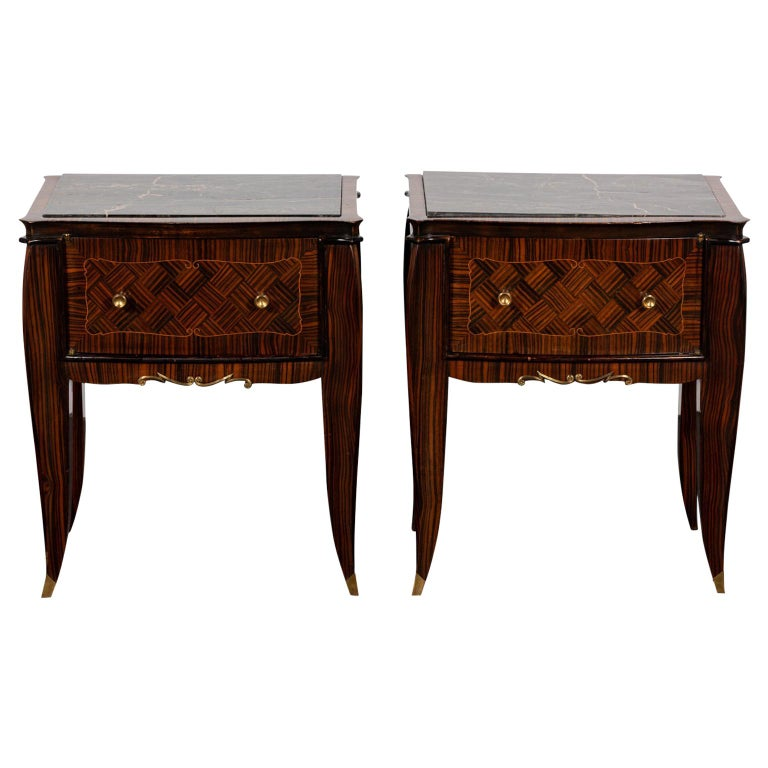 Pair of Art Deco Style Nightstands with Drawers For Sale