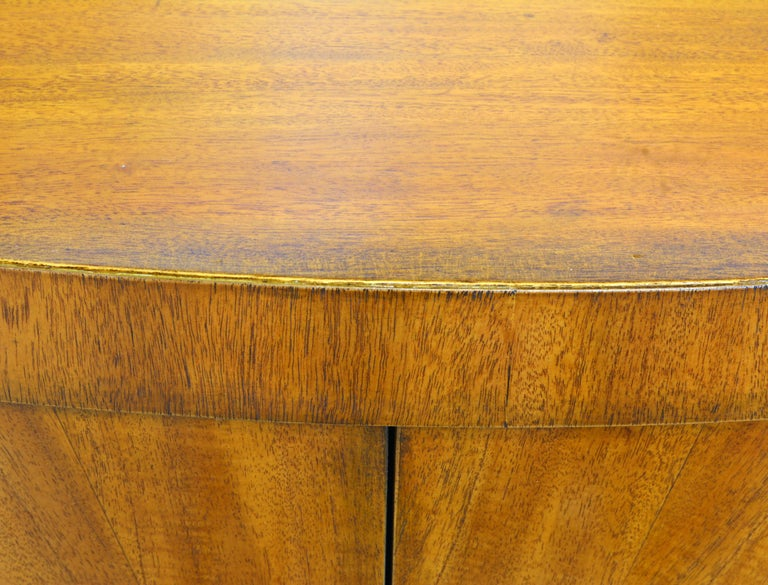 Pair of Art Deco Style Oval Mahogany Cabinet-Tables Inspired by Andre Arbus 4
