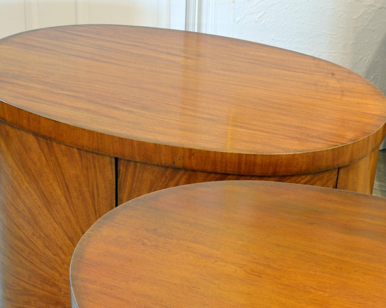 Pair of Art Deco Style Oval Mahogany Cabinet-Tables Inspired by Andre Arbus 5