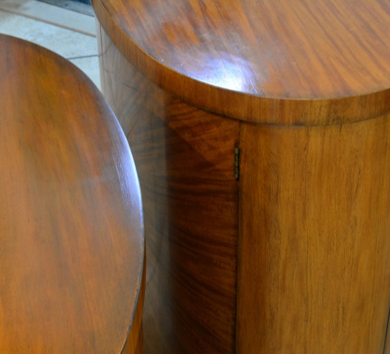 Pair of Art Deco Style Oval Mahogany Cabinet-Tables Inspired by Andre Arbus 6