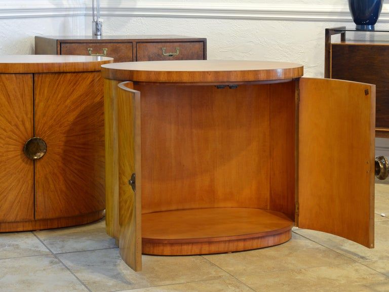American Pair of Art Deco Style Oval Mahogany Cabinet-Tables Inspired by Andre Arbus
