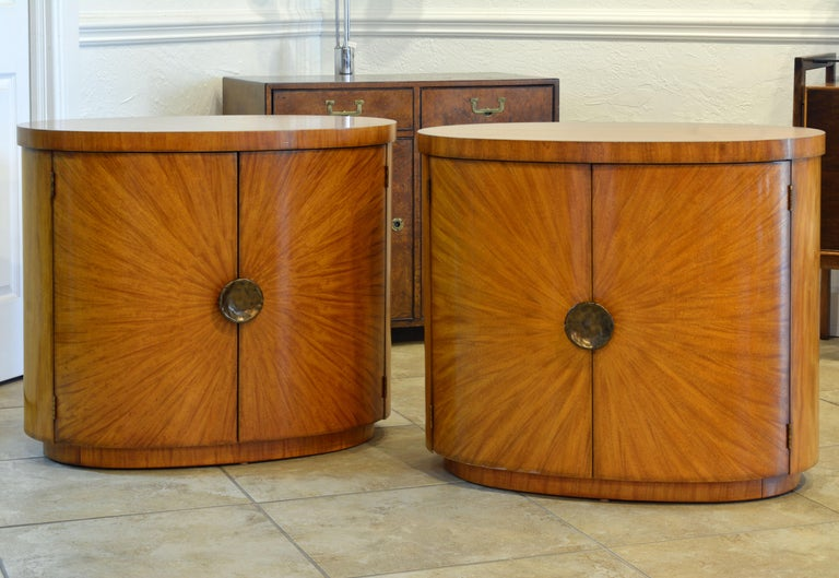 Pair of Art Deco Style Oval Mahogany Cabinet-Tables Inspired by Andre Arbus In Good Condition In Ft. Lauderdale, FL