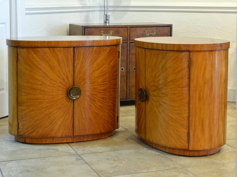 Late 20th Century Pair of Art Deco Style Oval Mahogany Cabinet-Tables Inspired by Andre Arbus