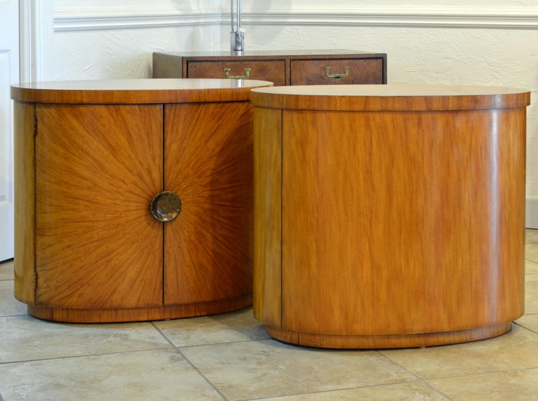 Brass Pair of Art Deco Style Oval Mahogany Cabinet-Tables Inspired by Andre Arbus