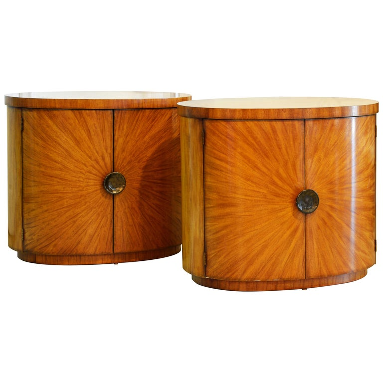 Pair of Art Deco Style Oval Mahogany Cabinet-Tables Inspired by Andre Arbus
