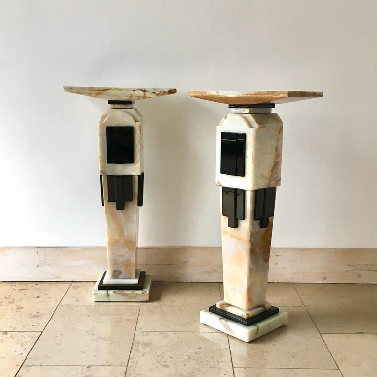 Pair of Art Deco Style Pedestals, 1980s In Fair Condition For Sale In London, GB