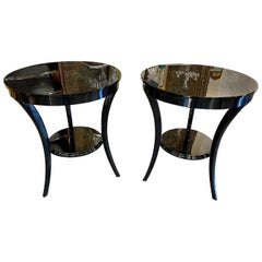 Pair of Art Deco Style Piano Black Side Tables