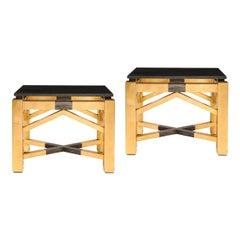 "Pair of Art Deco Style ""Roark"" Gilded End Tables w/ Granite Tops by Lorin Marsh"