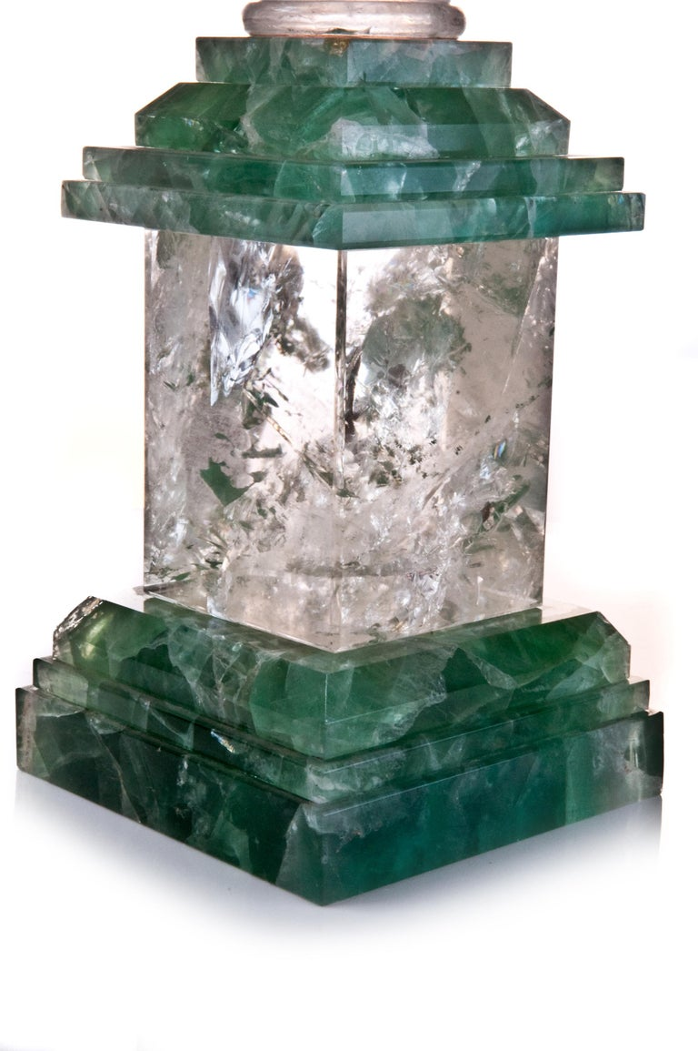 Pair of Art Deco Style Rock Crystal Obelisks In Excellent Condition For Sale In New York, NY