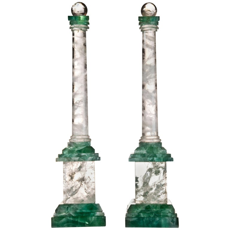 Pair of Art Deco Style Rock Crystal Obelisks For Sale