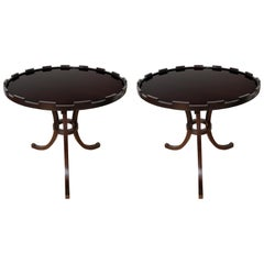 Pair of Art Deco Style Round Side Tables by Baker