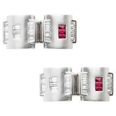Pair of Art Deco Style Ruby and Diamond Cufflinks