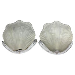Pair of Art Deco Style Sconces with Stylised Shell Design