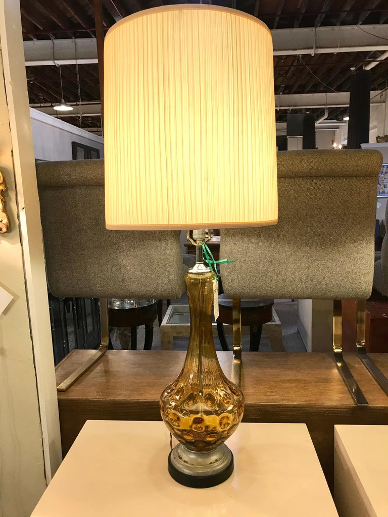 Pair of Art Deco Style Sculpted Amber Glass Lamps For Sale 6