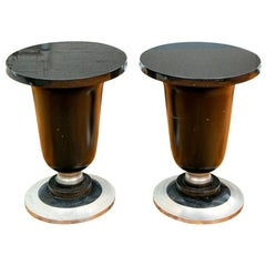Pair of Art Deco Style Side Tables with Black Stone Tops