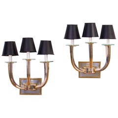 Pair of Art Deco Style Silvered Metal