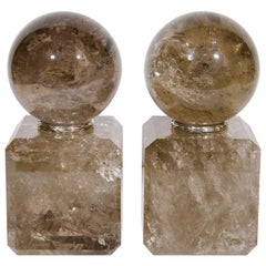 Pair of Art Deco Style Smokey Cut Rock Crystal Ball Form Ornaments