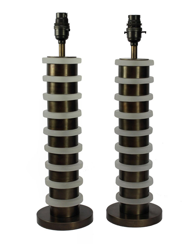 Late 20th Century Pair of Art Deco Style Table Lamps