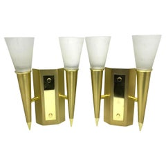 Pair of Art Deco Style Torch Wall Sconces in Brass and Satin Glass Germany 1980s
