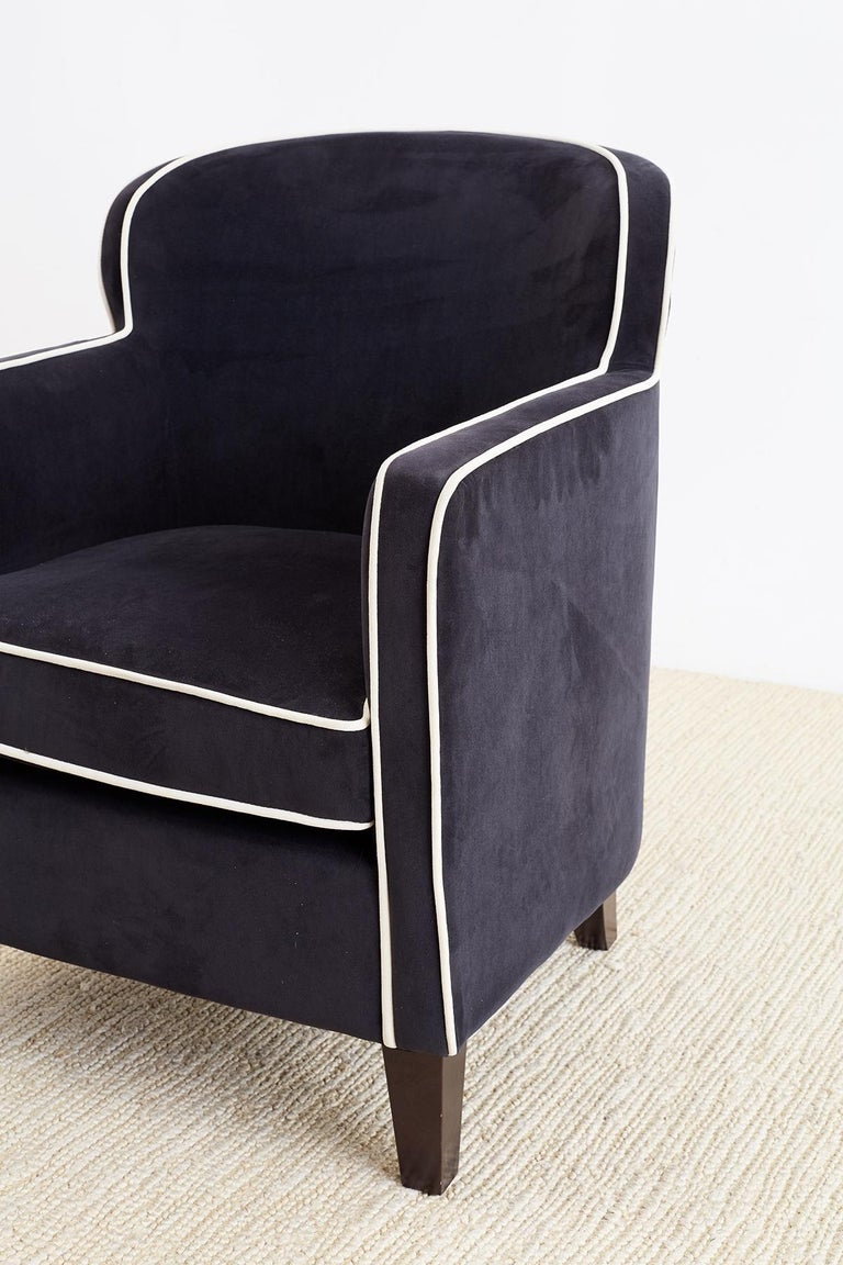 Pair of Art Deco Style Velvet Club Chairs For Sale 7