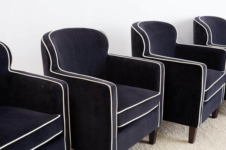 20th Century Pair of Art Deco Style Velvet Club Chairs For Sale