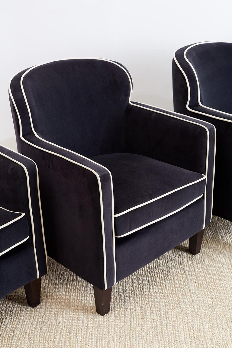 Pair of Art Deco Style Velvet Club Chairs For Sale 1