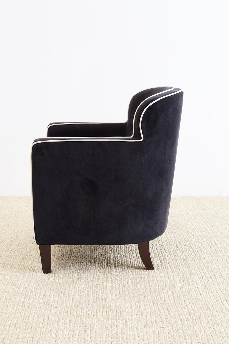 Pair of Art Deco Style Velvet Club Chairs For Sale 3