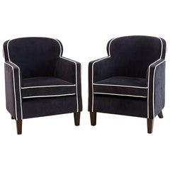 Pair of Art Deco Style Velvet Club Chairs